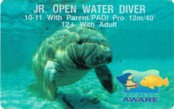 PADI Jr Open Water Certification Card